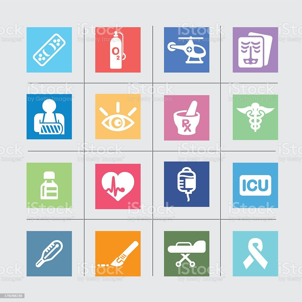 Medicine and Healthcare Color harmony Icons2 vector art illustration