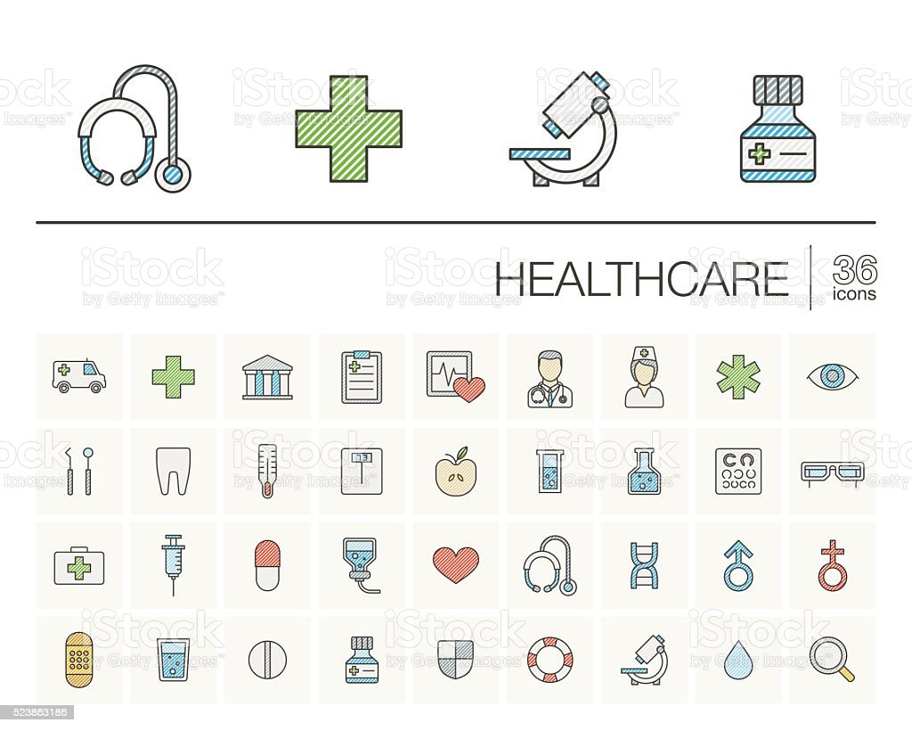 Medicine and healthcare color vector icons vector art illustration