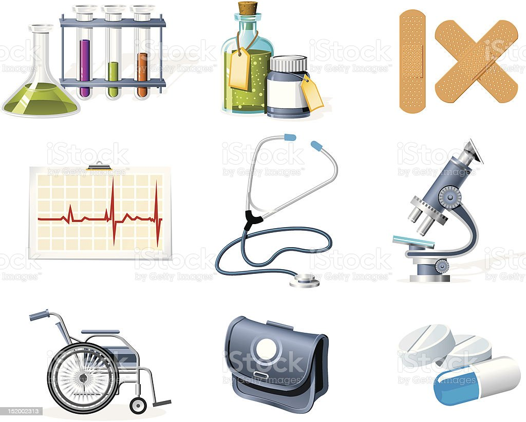 Medicine and Healthcare icons royalty-free stock vector art