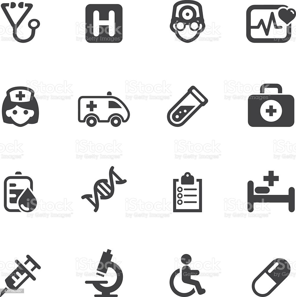 Medicine and Healthcare Silhouette icons 1 royalty-free stock vector art