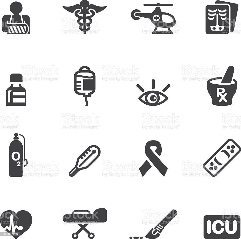 Medicine and Healthcare Silhouette icons 2 vector art illustration