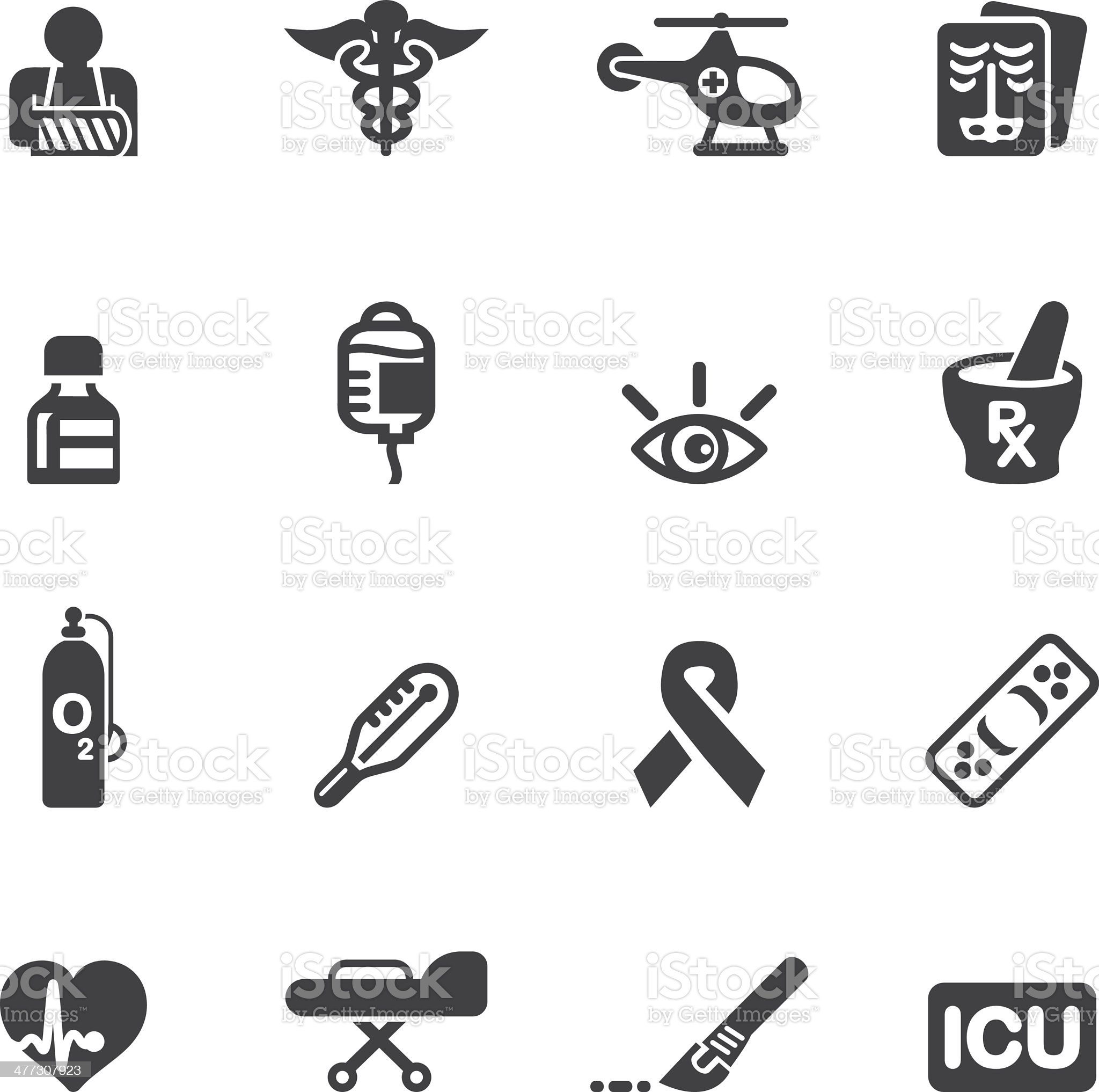 Medicine and Healthcare Silhouette icons 2 royalty-free stock vector art