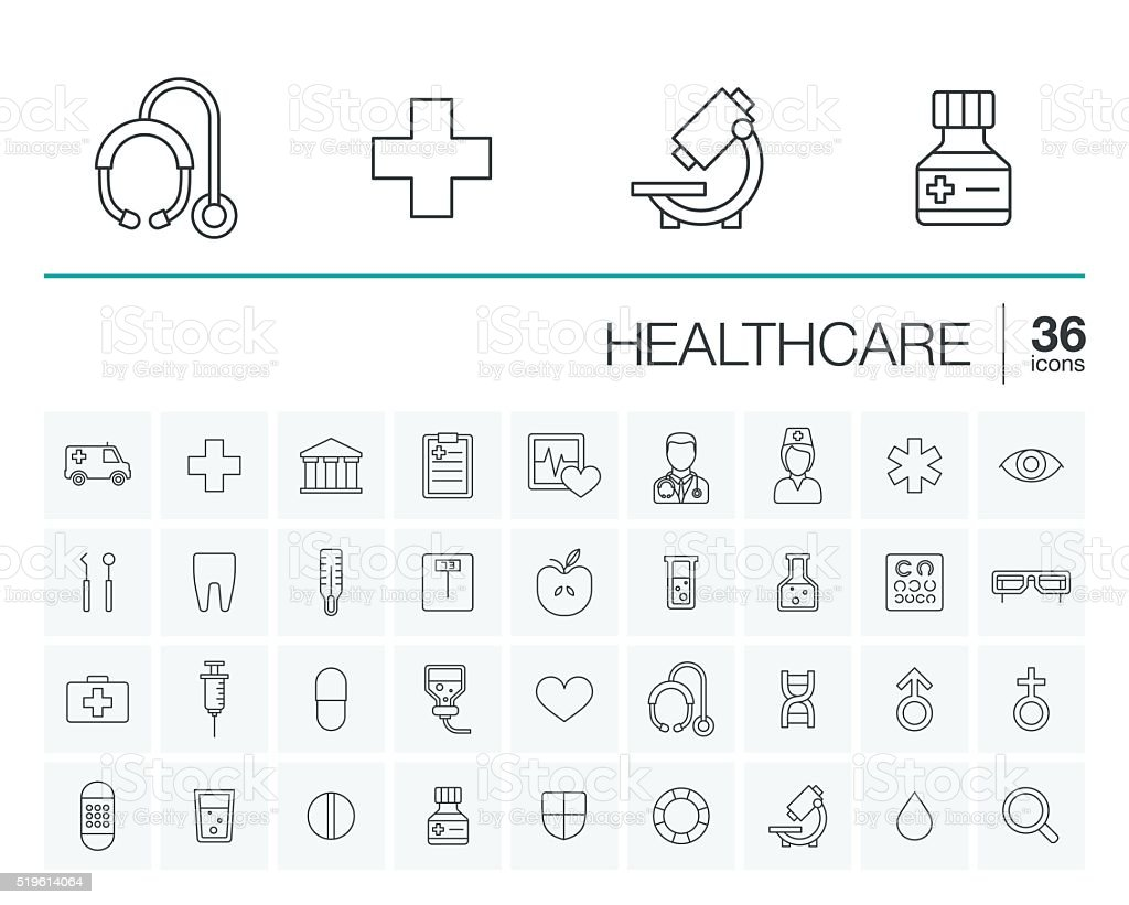 Medicine and healthcare vector icons vector art illustration