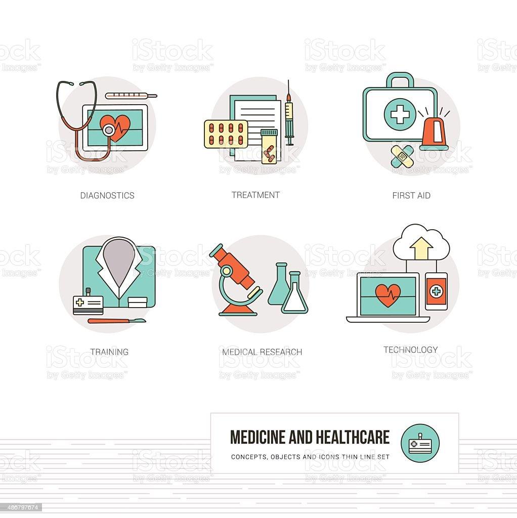Medicine and healthcare vector art illustration