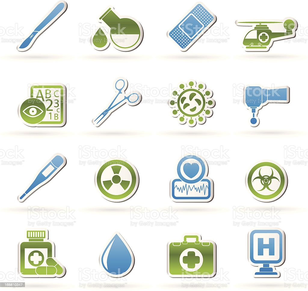 Medicine and hospital equipment icons royalty-free stock vector art