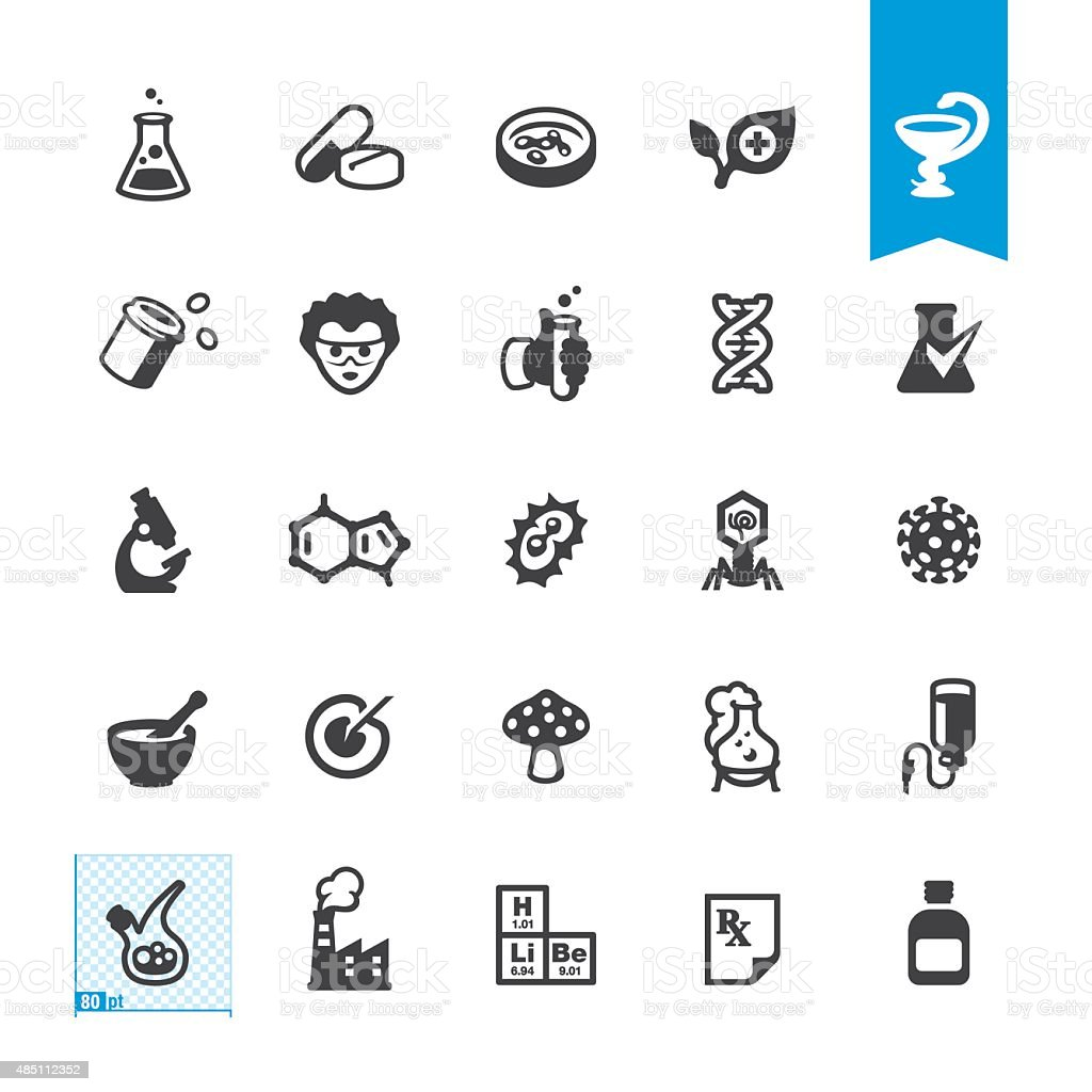 Medicine and Pharmacy related vector icons vector art illustration
