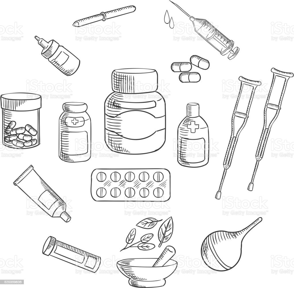 Medicine and pharmacy sketch icon vector art illustration