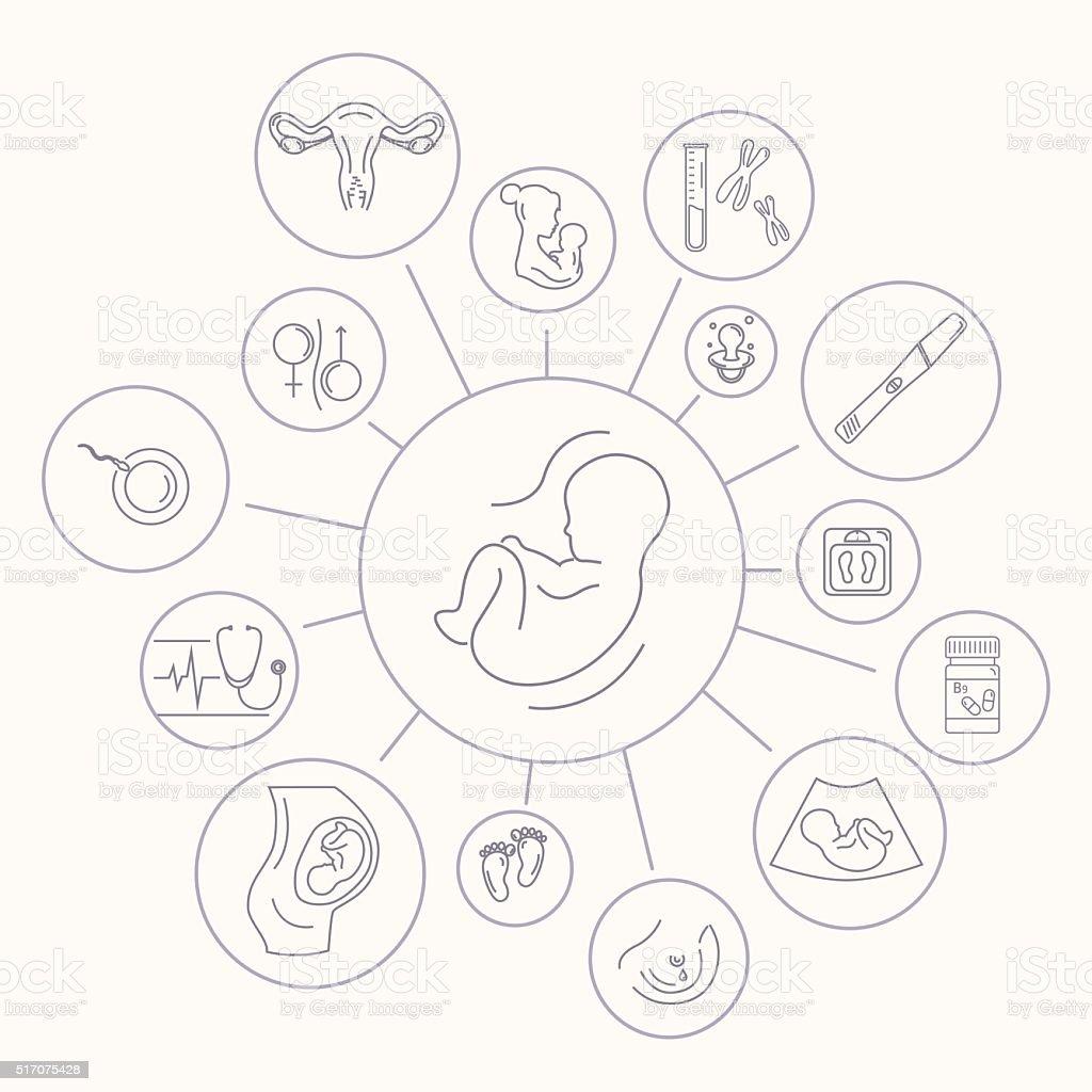 Medicine and pregnancy vector line icon vector art illustration