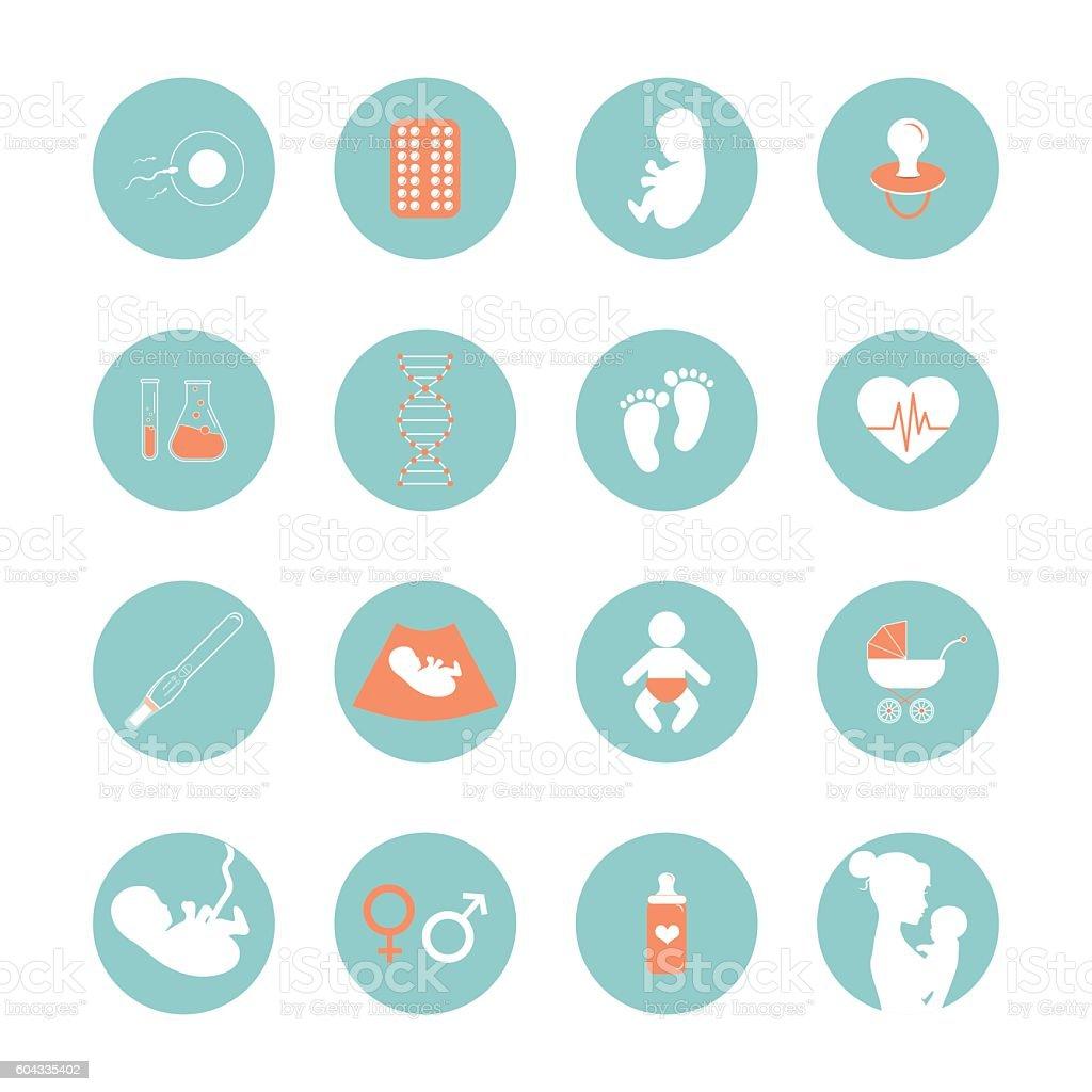 Medicine and pregnancy vector line icons set vector art illustration