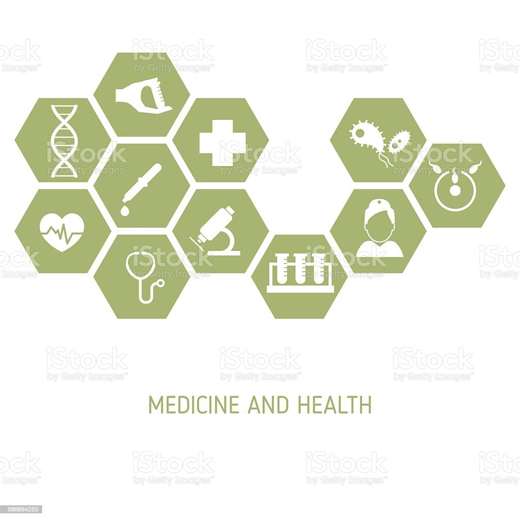Medicine background with icons vector art illustration
