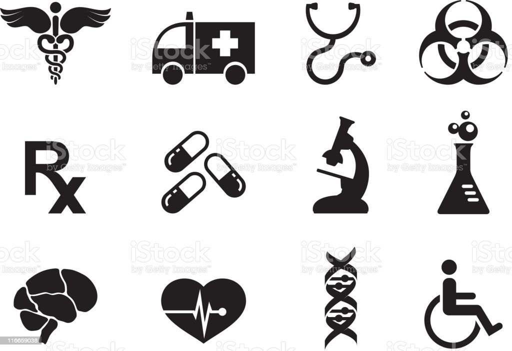 medicine black and white royalty free vector icon set royalty-free stock vector art