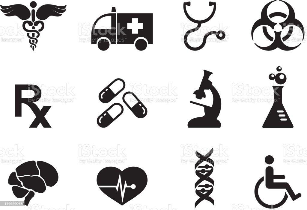 medicine black and white royalty free vector icon set vector art illustration