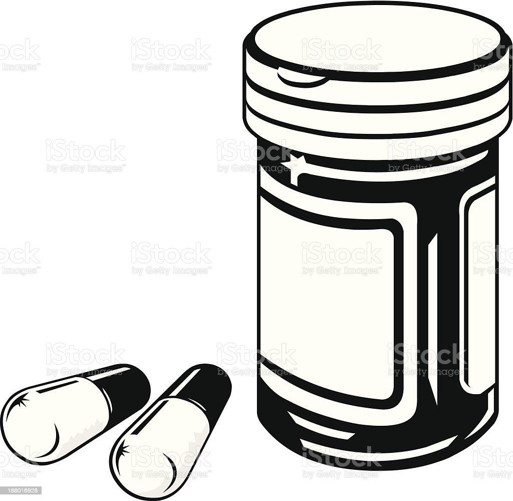 Medicine Bottle and Pills vector art illustration