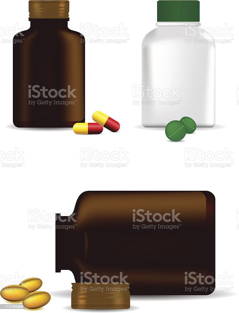 Medicine Bottle, Capsule, Pills and Gel Tablets - Vector Illustration royalty-free stock vector art