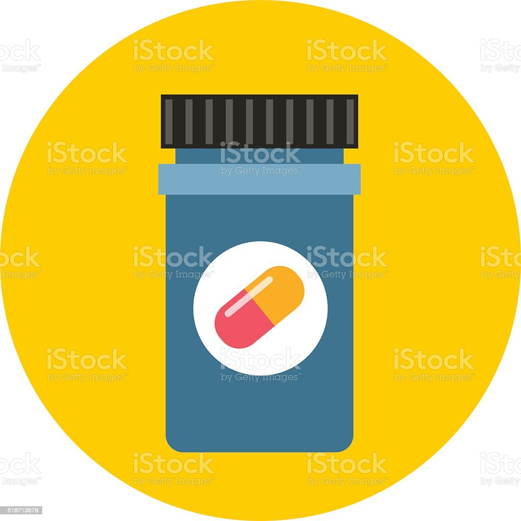 Medicine bottle in flat style isolated on color background vector art illustration