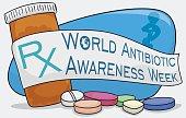 Medicine Bottle, Pills and Ribbon for World Antibiotic Awareness Week