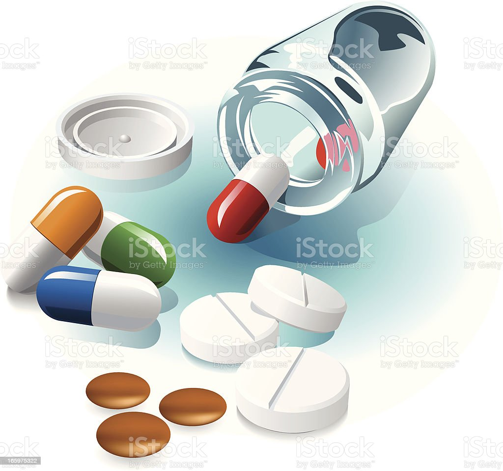 medicine bottle vector art illustration