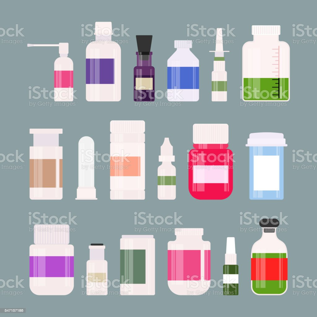 Medicine bottles collection drugs, tablets, capsules and sprays. Vector illustration vector art illustration