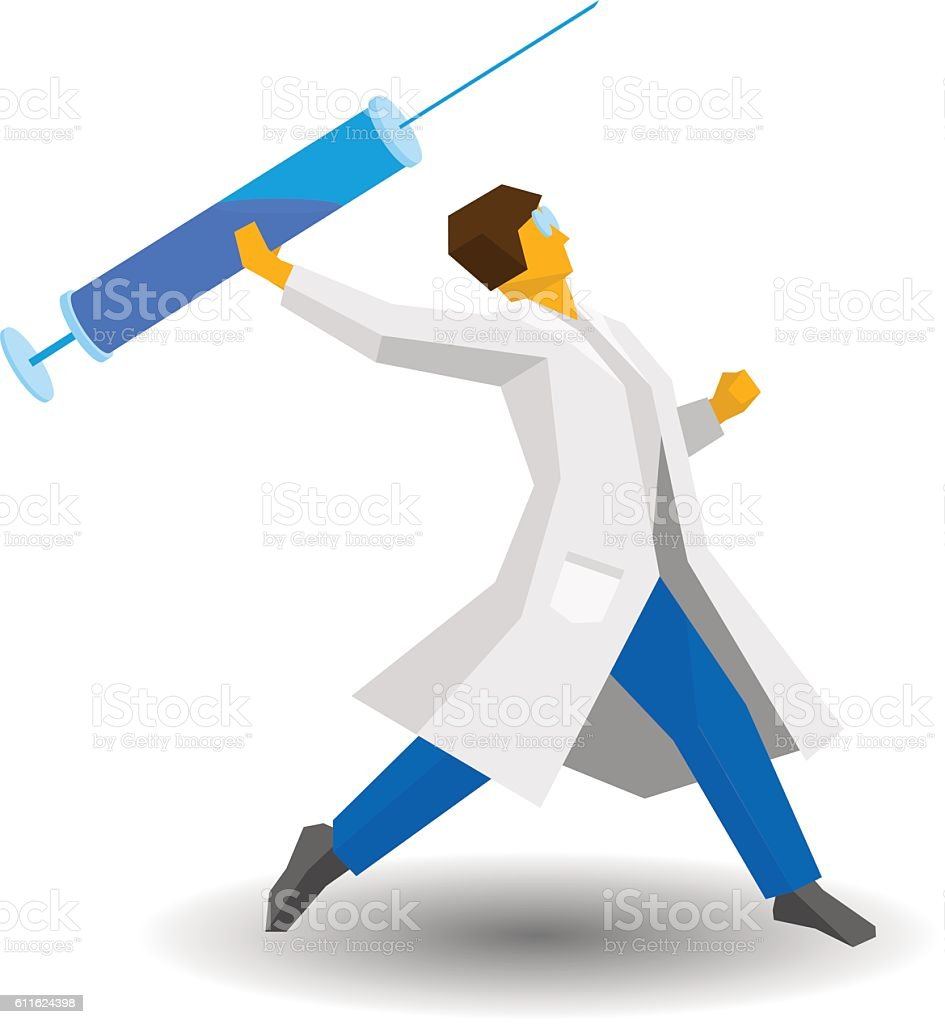 Medicine concept. Doctor throwing a syringe like a spear. vector art illustration