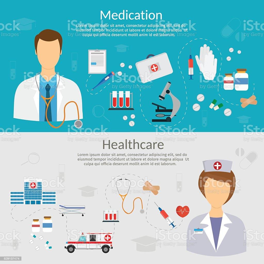 Medicine concept vector illustration in modern flat design style vector art illustration