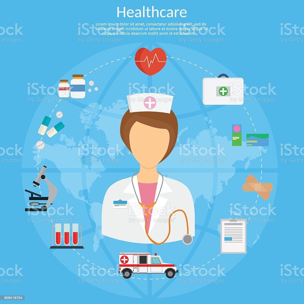 Medicine concept vector illustration in modern flat design style background vector art illustration