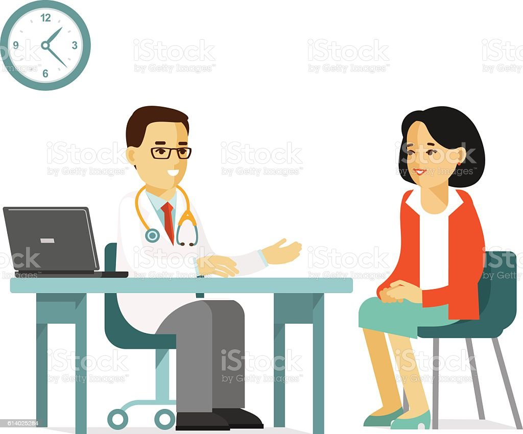 Medicine concept with doctor and patient vector art illustration