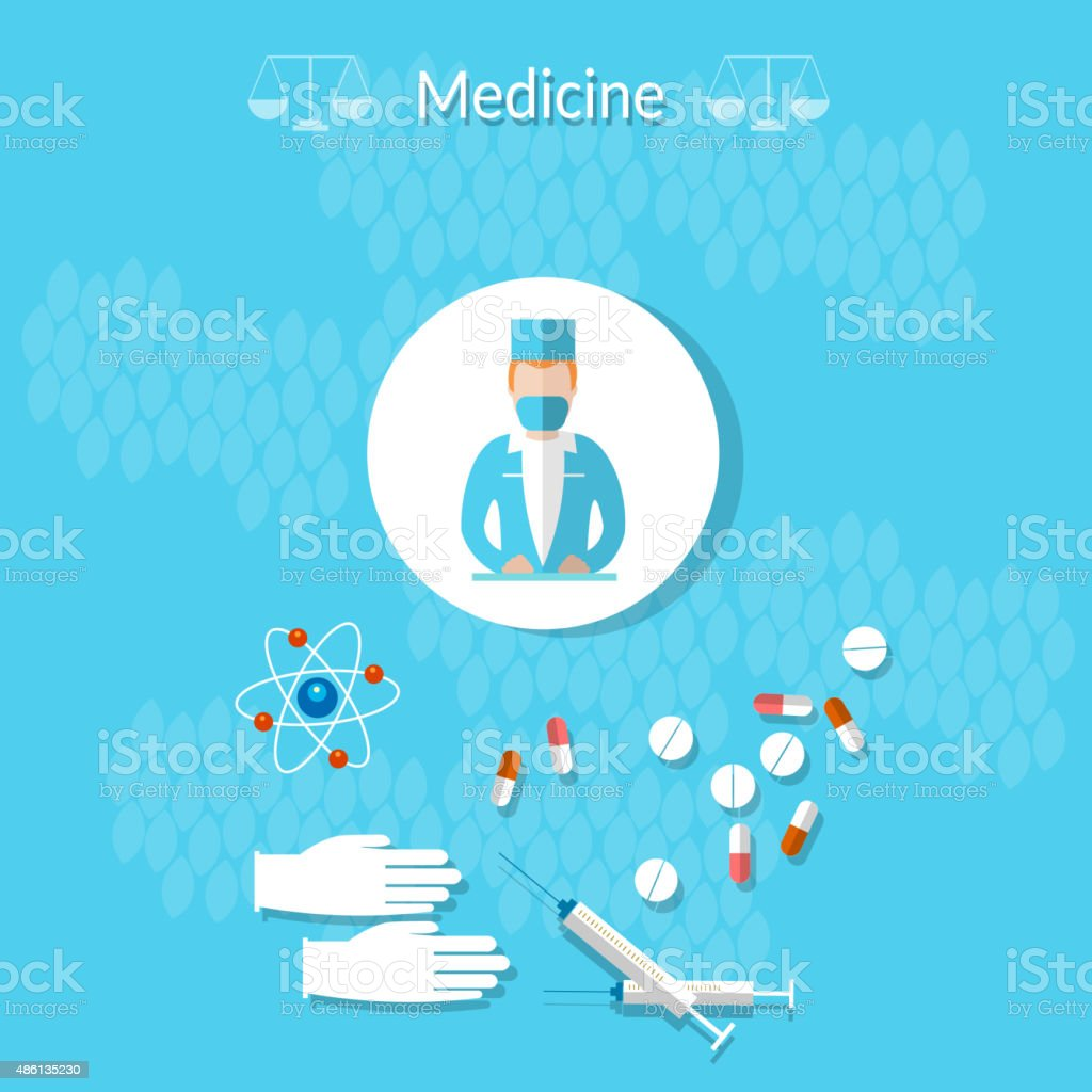 Medicine: doctor, medicine, health, gloves, syringes, tablets vector art illustration