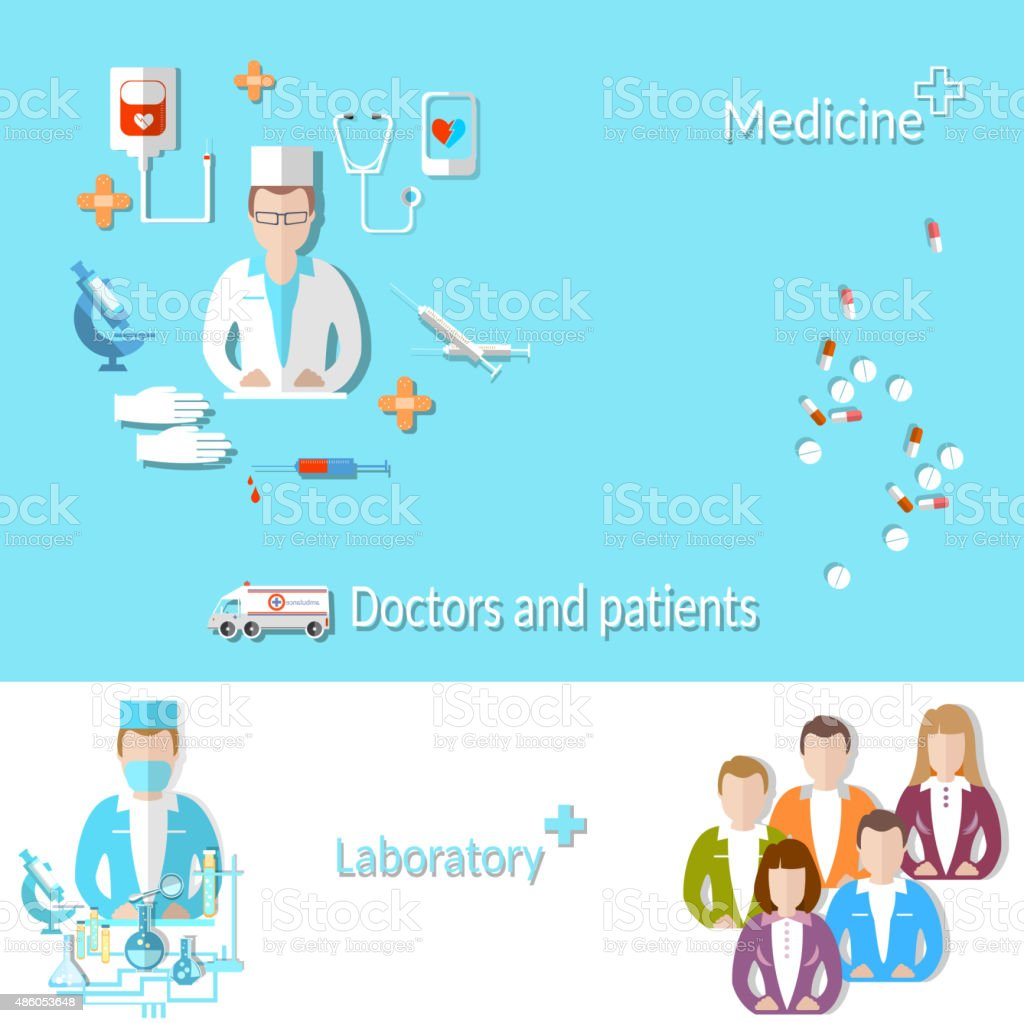 Medicine: doctor, patient, medical education, research, pill vector art illustration