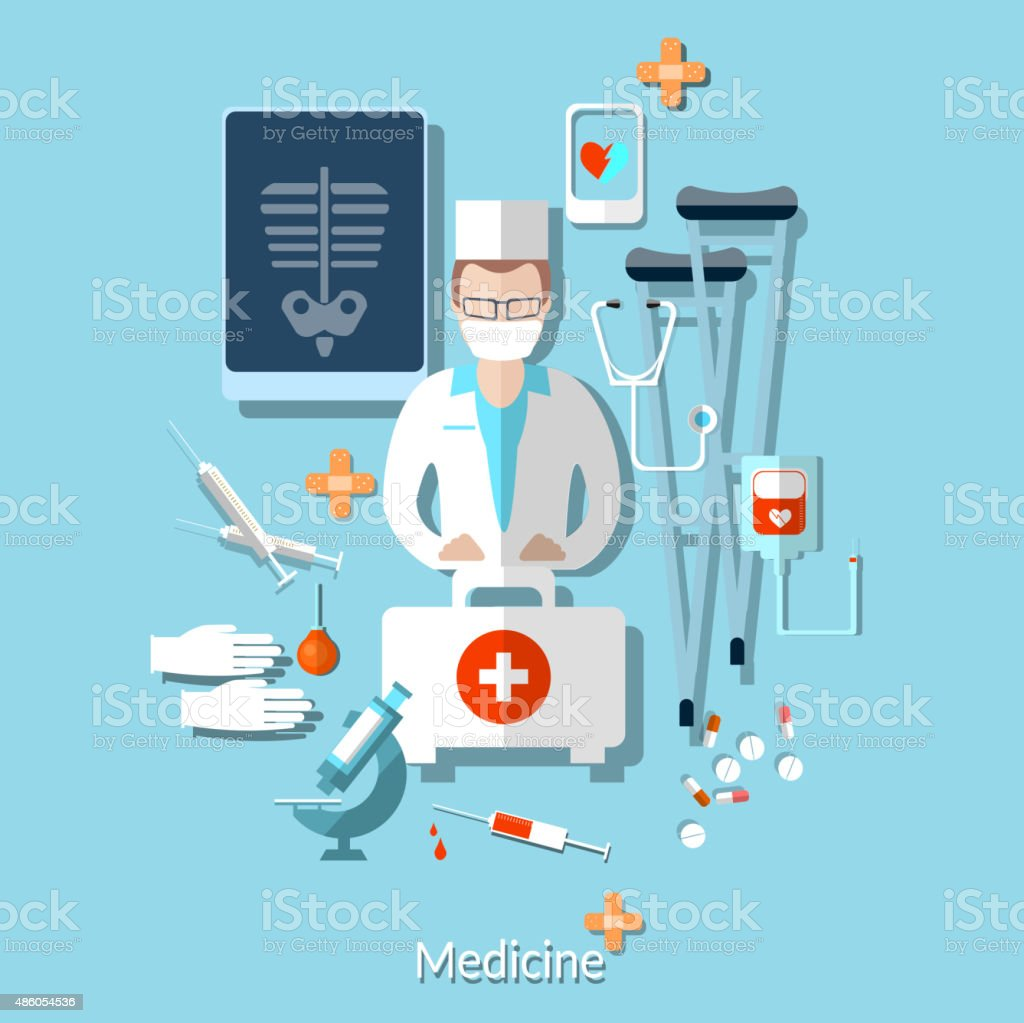 Medicine: doctor, radiologist, x-rays, ambulance, hospital vector art illustration