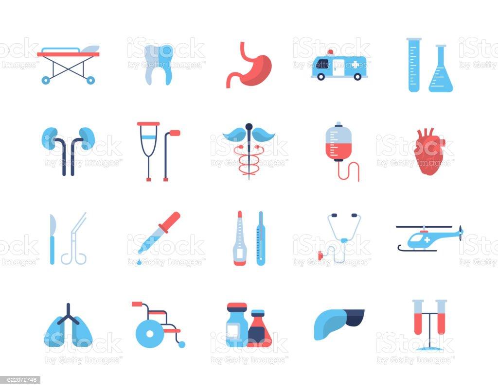 Medicine - flat design icons, pictograms vector art illustration
