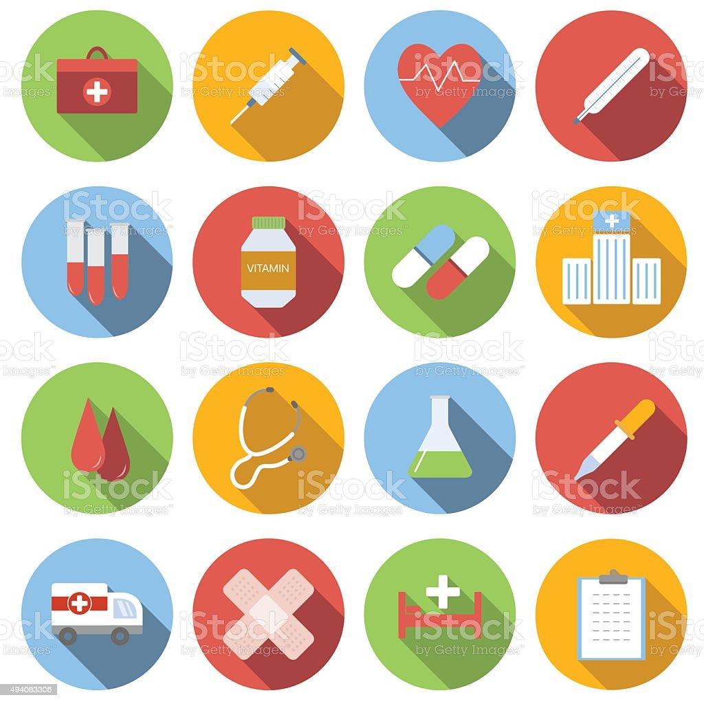 Medicine flat round icon set vector art illustration