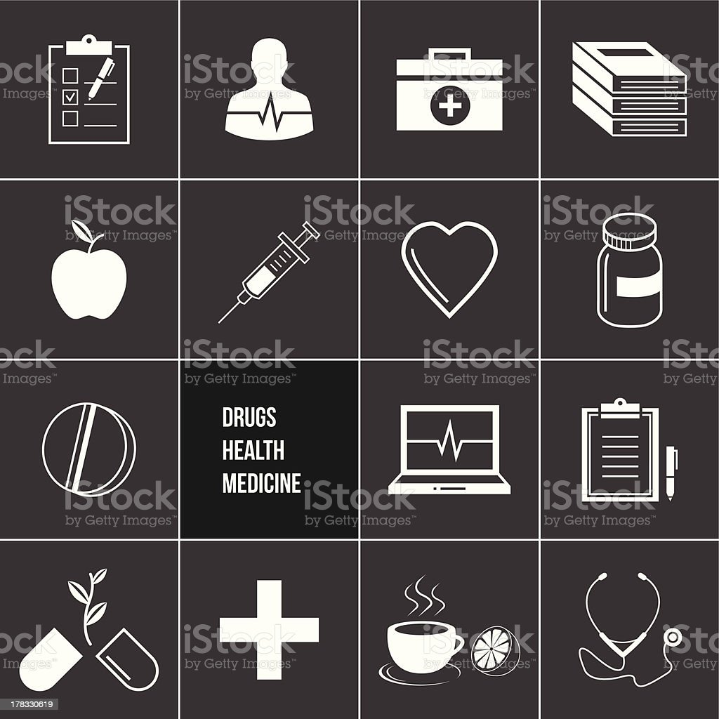 Medicine Health and Drugs Icons Set royalty-free stock vector art