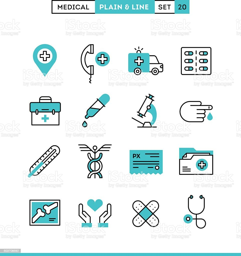 Medicine, health care, emergency, pharmacology and more. vector art illustration