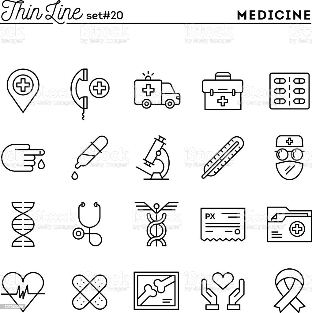 Medicine, health care, emergency, pharmacology and more vector art illustration