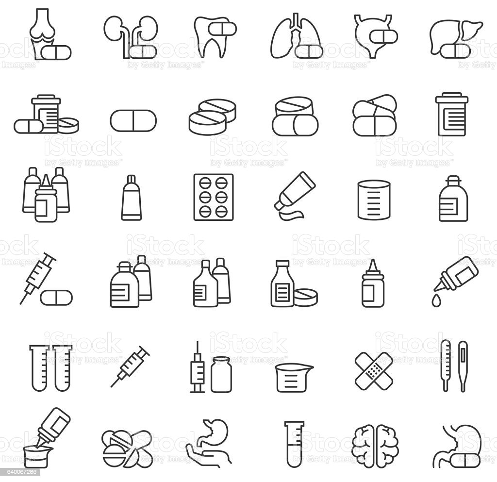 Medicine icon set vector art illustration