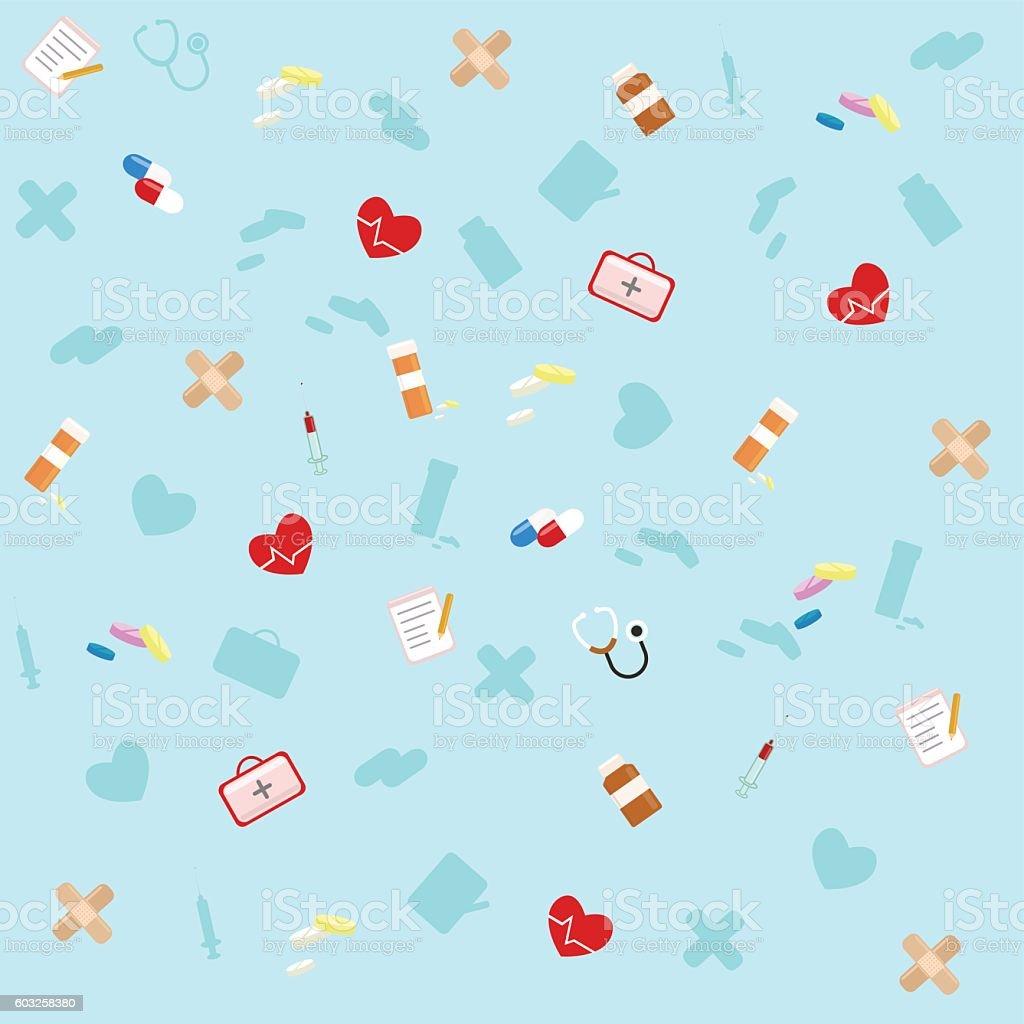 Medicine Icons Flat set Background. vector art illustration