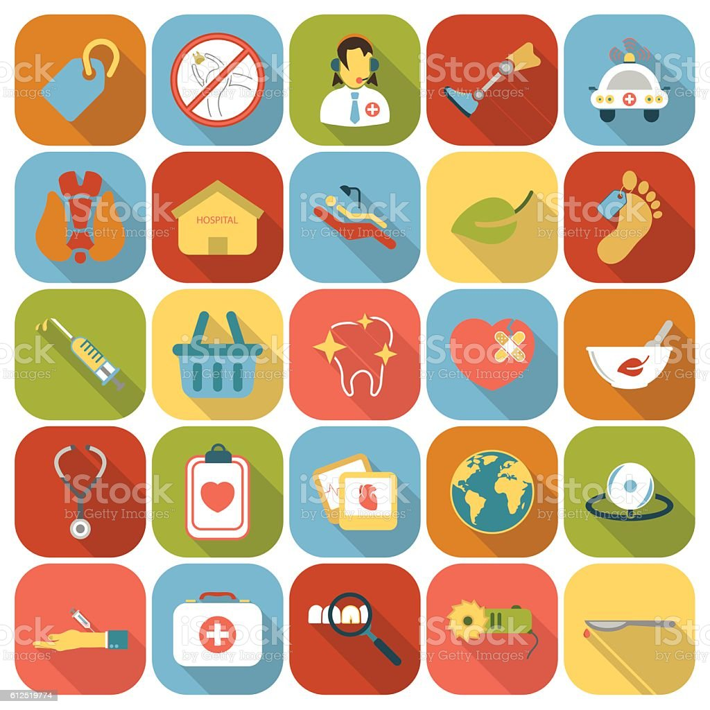 Medicine icons set. Medical, Health collection icon in flatequipment symbol.Medicine vector art illustration