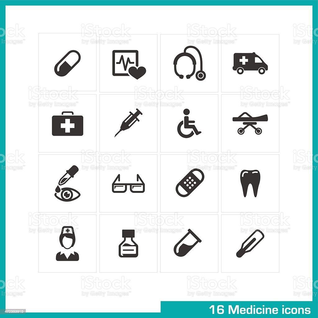 Medicine icons set. royalty-free stock vector art