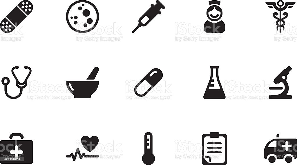 Medicine icons . Simple black royalty-free stock vector art