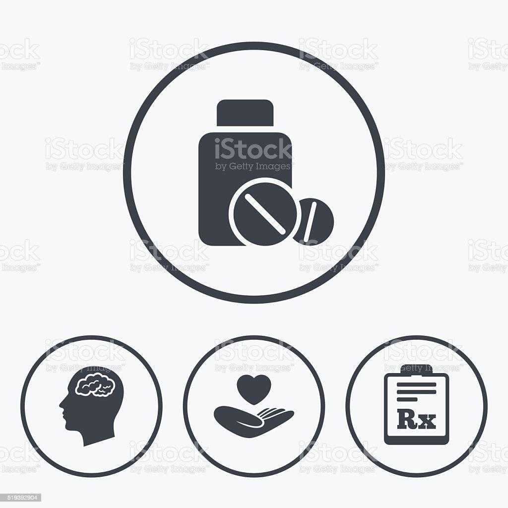 Medicine icons. Tablets bottle, brain, Rx. vector art illustration