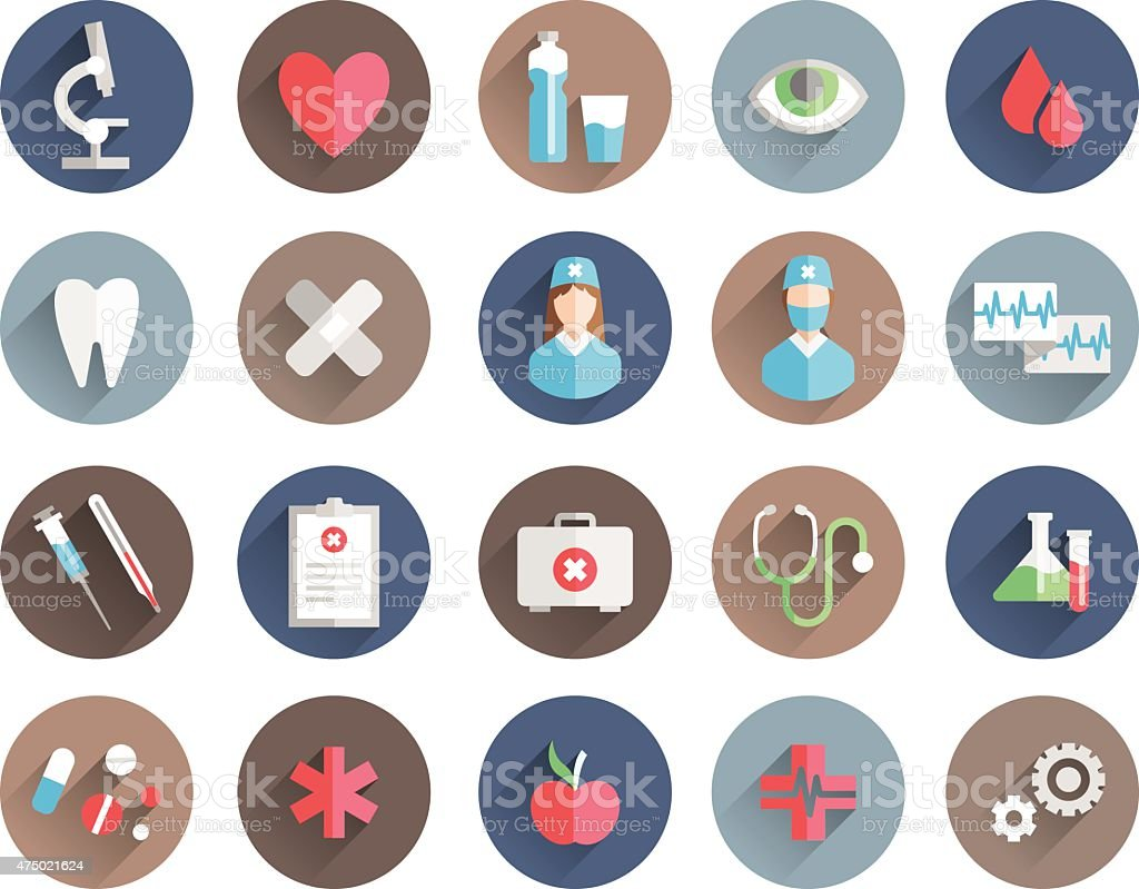 medicine icons vector set vector art illustration
