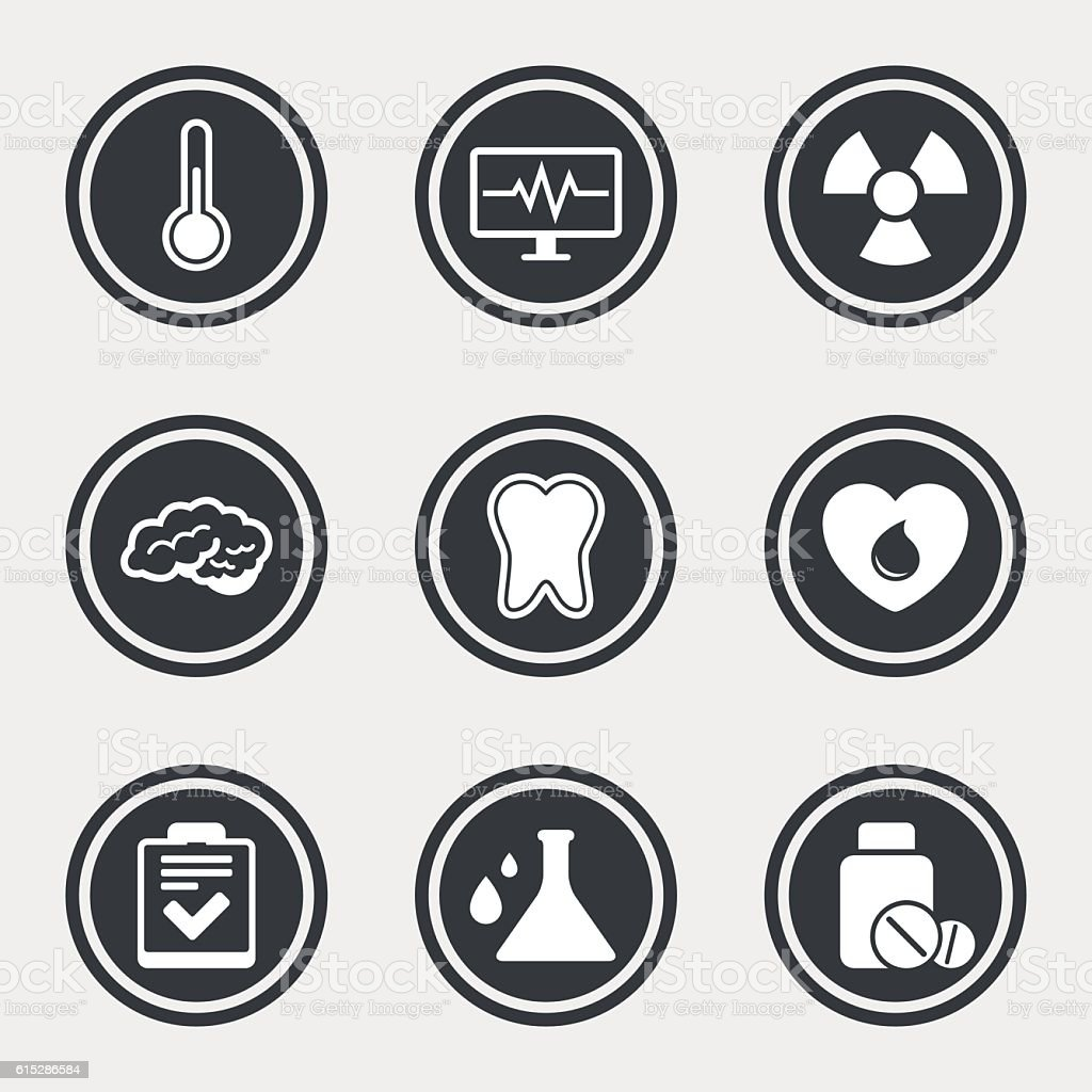 Medicine, medical health and diagnosis icons. vector art illustration