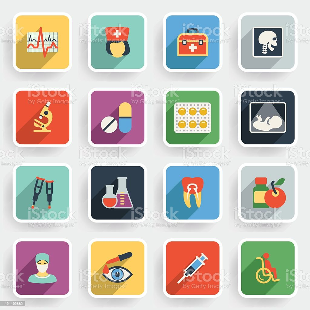 Medicine modern flat icons with color buttons on gray background. vector art illustration