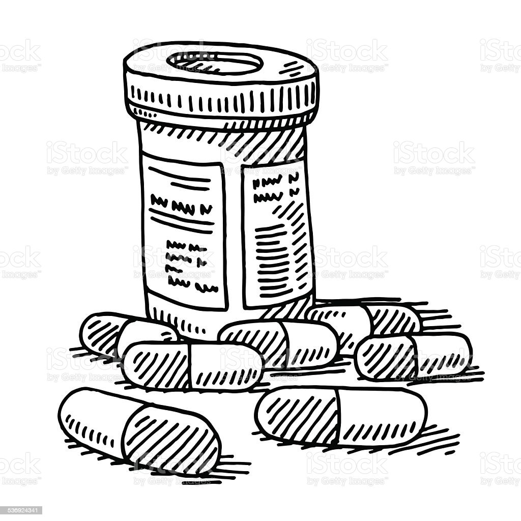 Medicine Pill Container Drawing vector art illustration