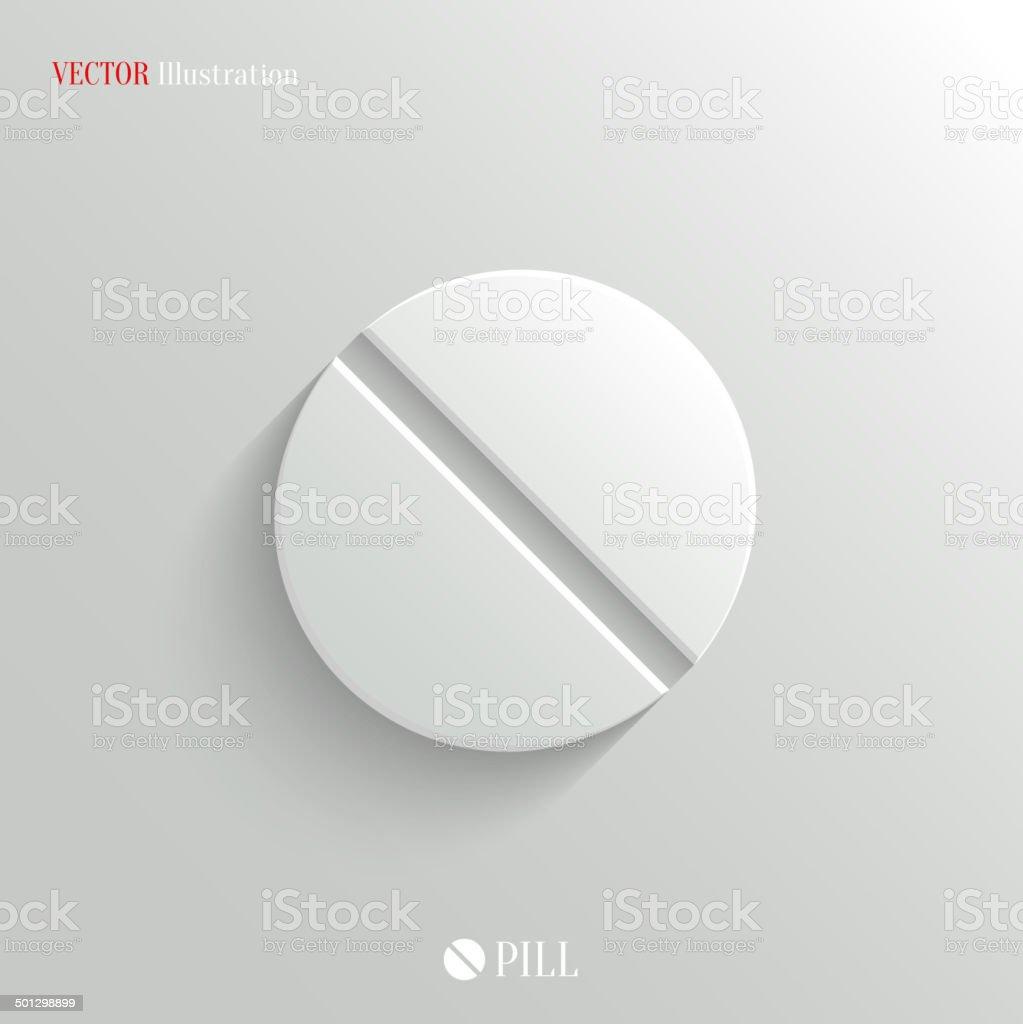 Medicine pill icon - vector white app button vector art illustration