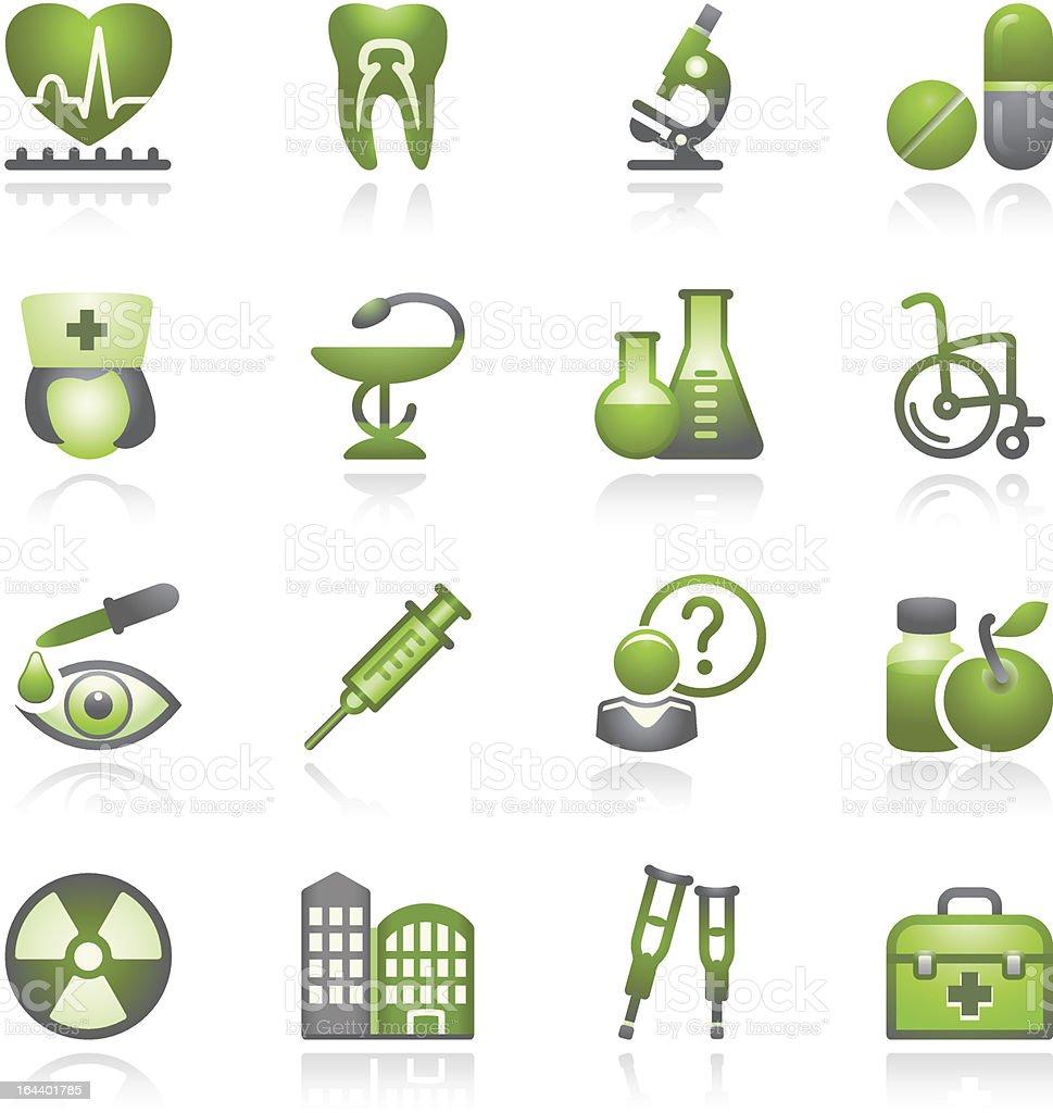 Medicine web icons, set 2. Gray and green series. royalty-free stock vector art