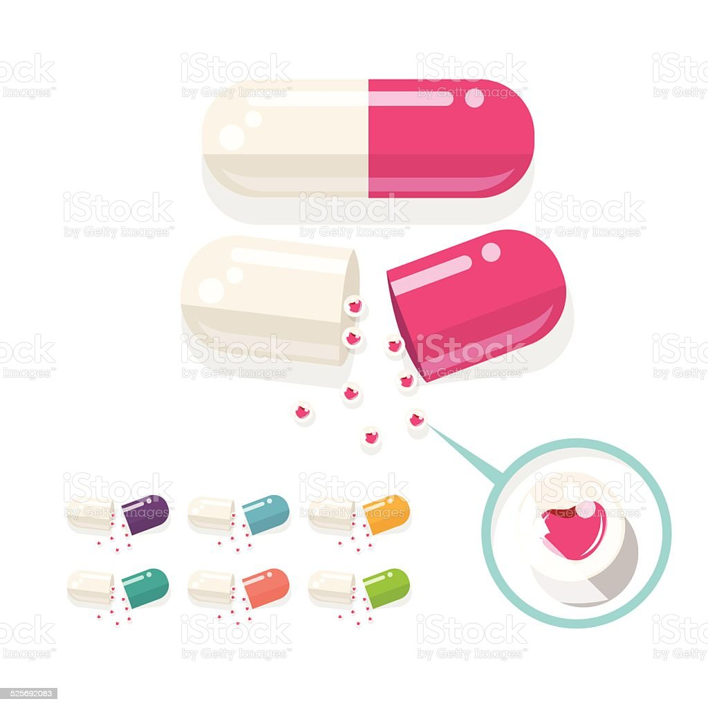 medicine with love. love pill - vector illustration vector art illustration
