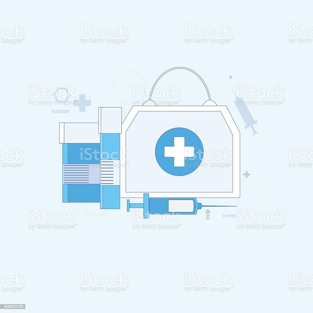 Medicines Prescription Medical Application Health Care Medicine Online Web Banner vector art illustration