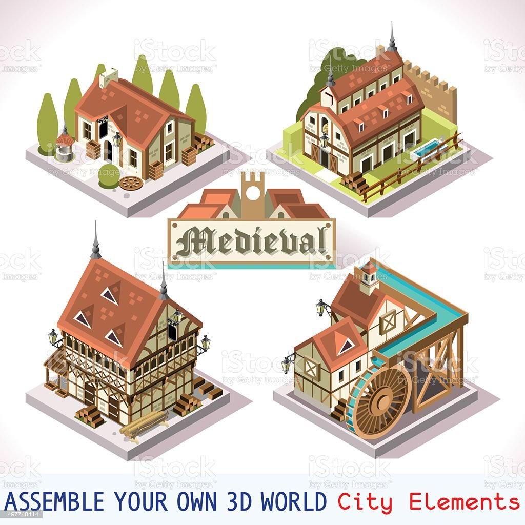 Medieval 02 Tiles Isometric vector art illustration