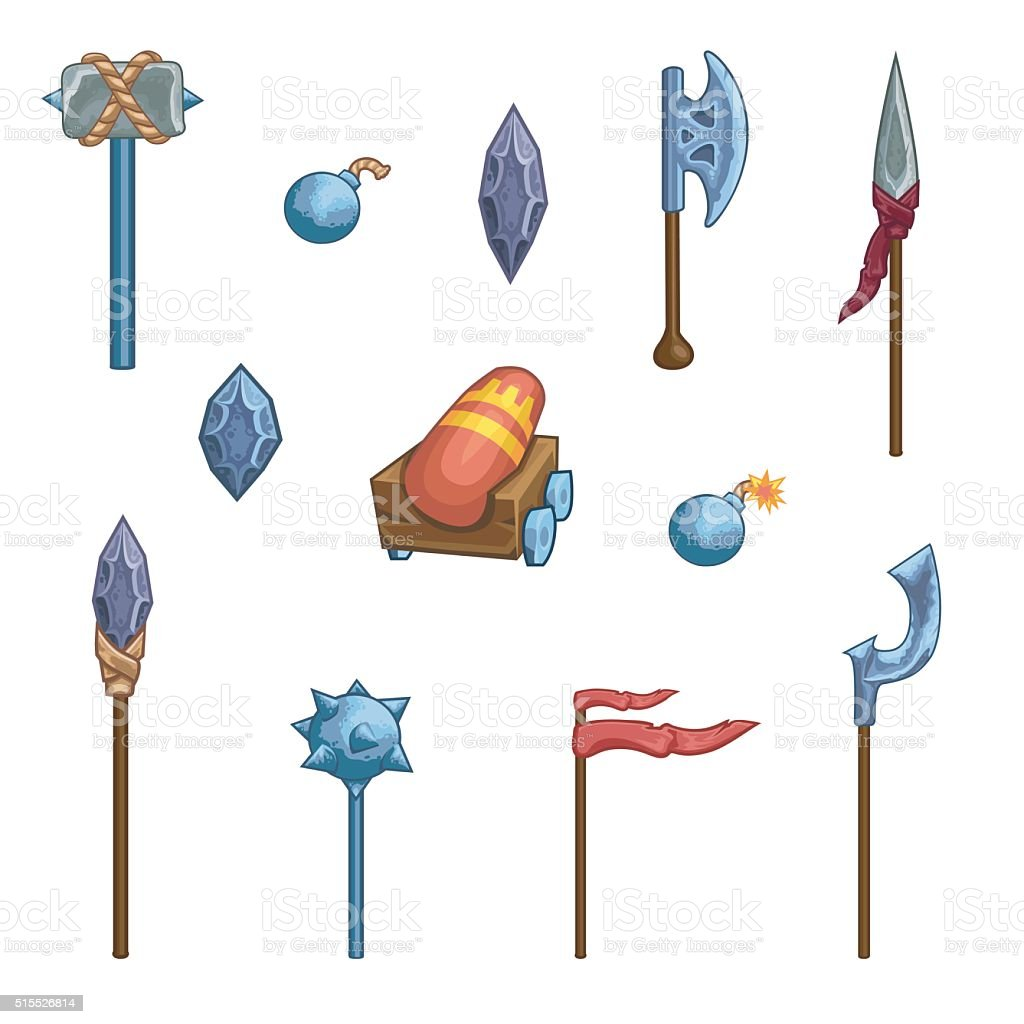 Medieval cartoon weapons. Game icons. vector art illustration